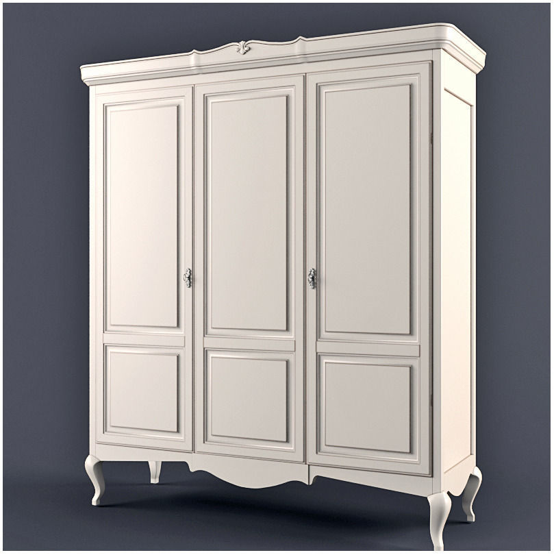 White wooden closet for the clothes casa bella giorgiocasa 3d model max fbx 1