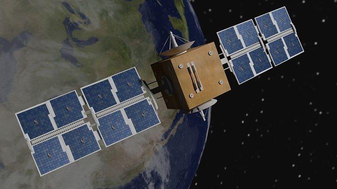 satellite 3d model obj mtl blend 1