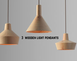3D model Wooden light pendants collection vol 1