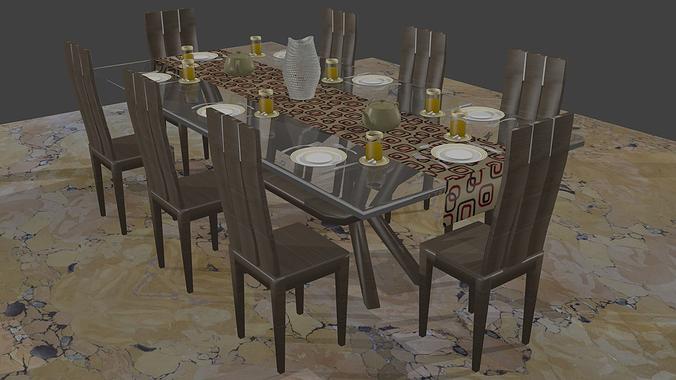 3d Modern Dinning Table Set Cgtrader