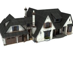 english style family house 3d model