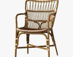 Retro rattan dining arm chair 3D
