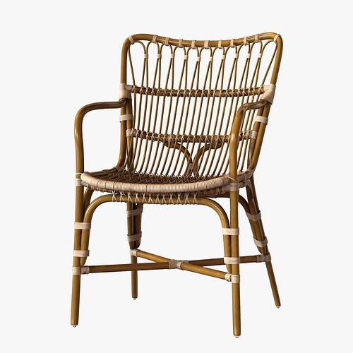Genial Retro Rattan Dining Arm Chair 3D Model