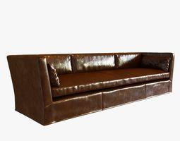 3d restoration hardware belgian shelter arm leather sofa