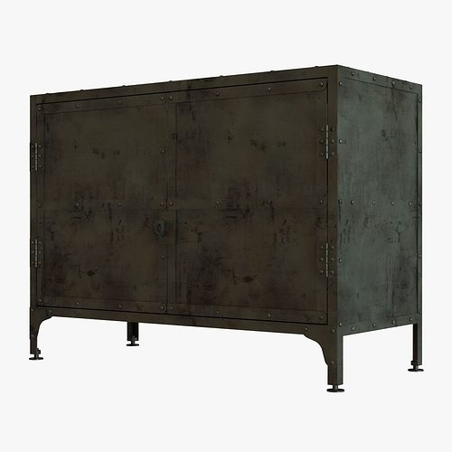 Restoration hardware industrial tool chest small sideboard for Sideboard 3d