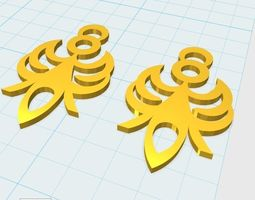3d print model pair earrings angels