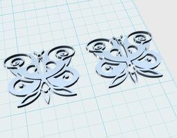 butterfly earrings 3d printable model