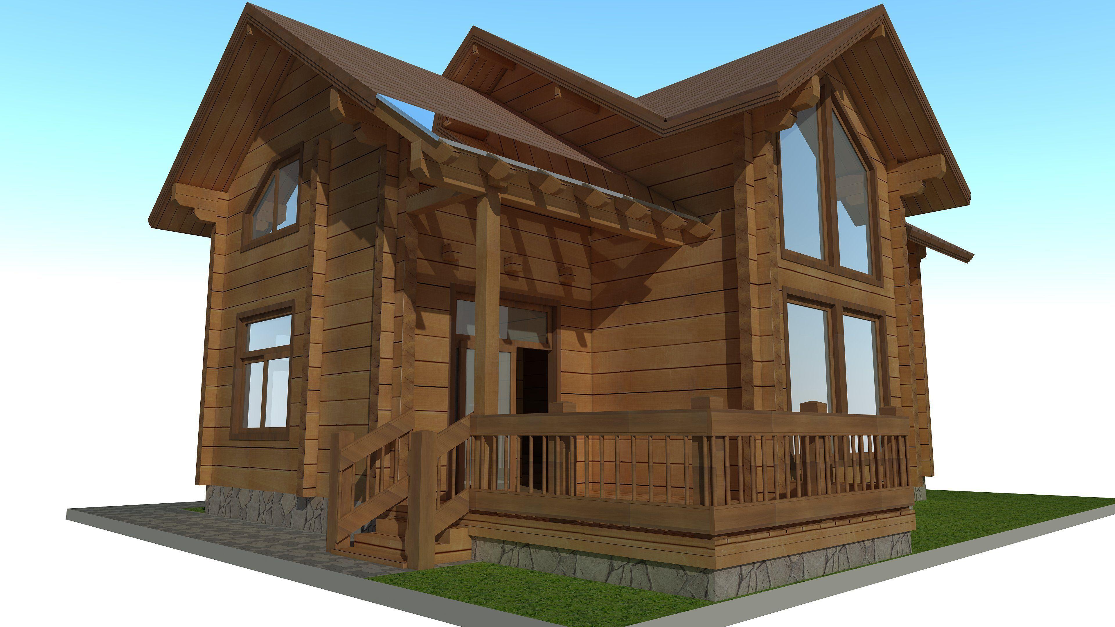 Wood house exterior 3d model skp for 3d model of house