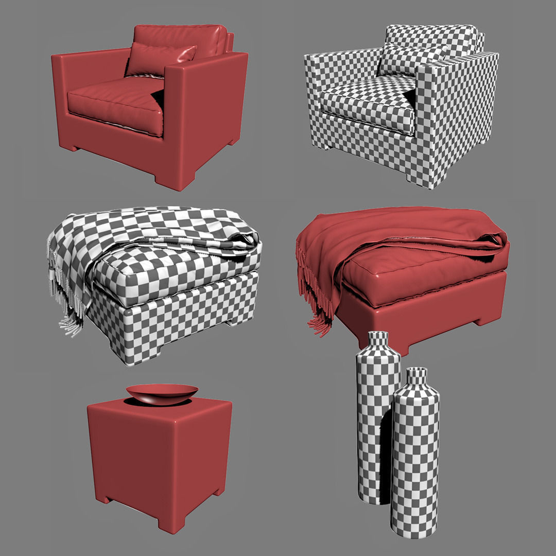Crate And Barrel Ventura Lounge Collection Set Ii 3d