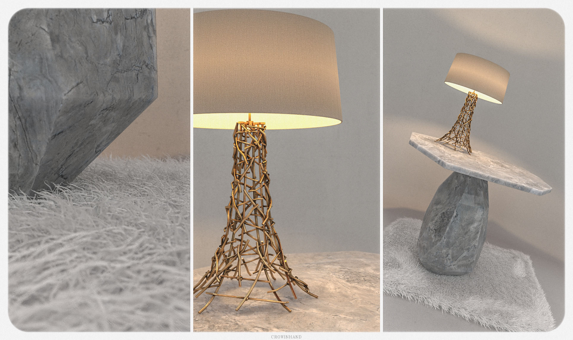 Side Table Rock With Grazia Lamp 3d Model Max Obj Fbx Mtl 1