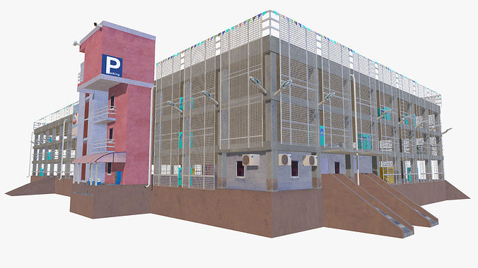 3d model parking garage building vr ar low poly obj fbx for 3d garage builder