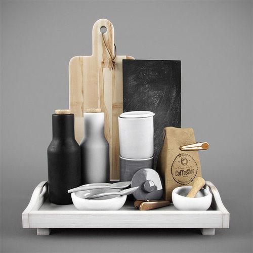 kitchen decorative coffee tea set 3d model max obj 3ds fbx mtl 1