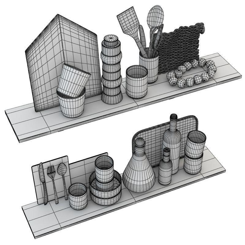 Kitchen scandinavian decorative set 3d model max obj 3ds for Kitchen set 3d warehouse