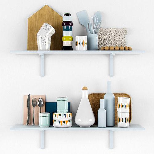 Kitchen scandinavian decorative set 3d model cgtrader for Kitchen set 3d warehouse