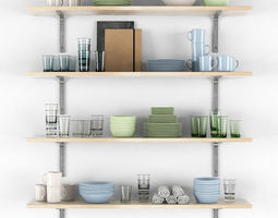 Shelves with dishes 3D