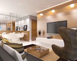 3D dining and living room
