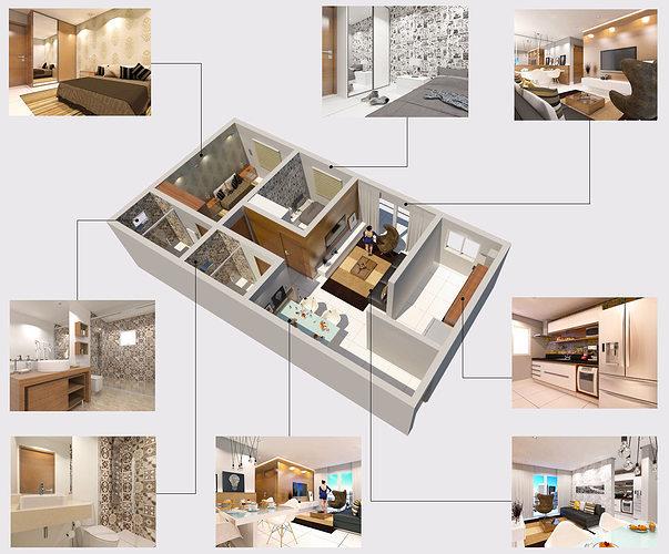 modern apartment 3d model skp 1