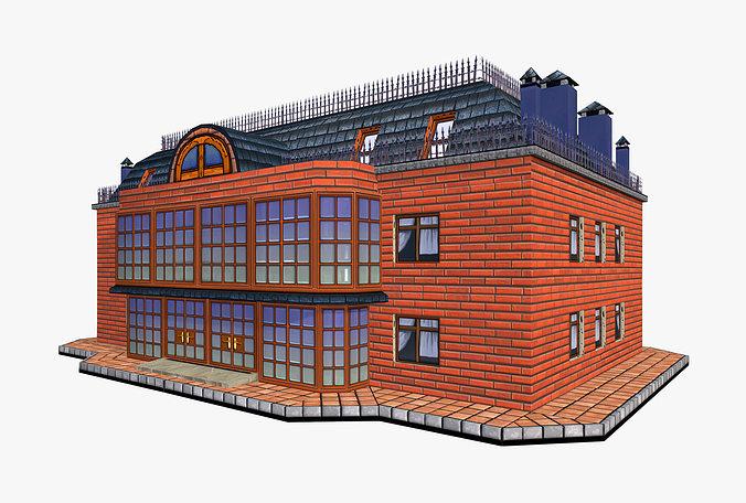 house apartments building 3d model low-poly max obj fbx mtl tga mat 1