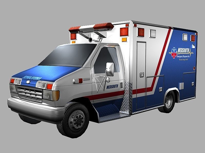 ambulance 3d model low-poly obj mtl ma mb tga 1