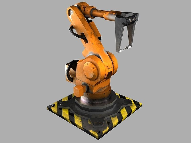 robot arm 3d model low-poly obj fbx ma mb stl tga 1