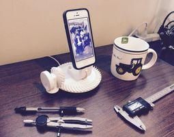 3d print model gearhead iphone dock working spiral bevel gear