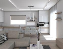 3D model room architectural Living Room
