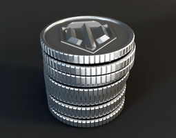 World of Tanks Silver Coins 3D asset