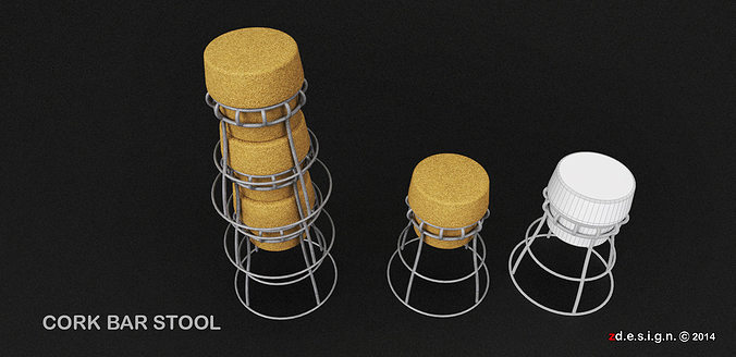 stockable cork barstool 3d model obj dae skp mtl 1