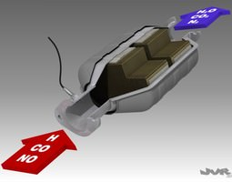 3d model car exhaust catalytic converter