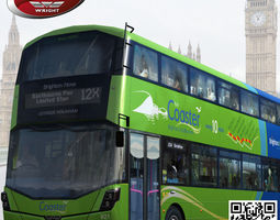 3d asset realtime rigged wrightbus streetdeck coaster green livery