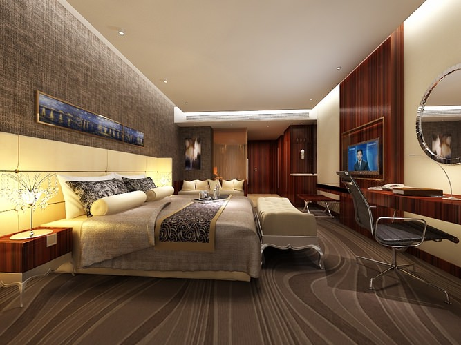 Very luxury bedroom 3d model max cgtrader com - Hotel Bedroom B2 32 3d Cgtrader