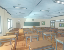 low-poly anime classroom - game props 3d model