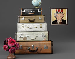 set of old suitcases 3D