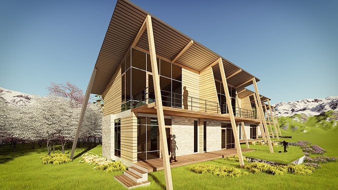 row house at weekend - 01 3d model skp 1