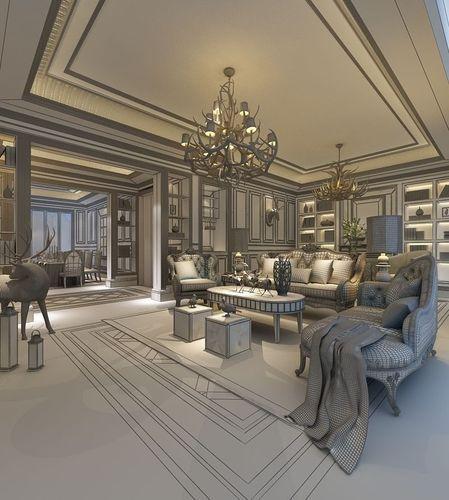 Realistic Living Room Design 001 3d Model Max