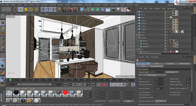 modern kitchen 3d model c4d 1