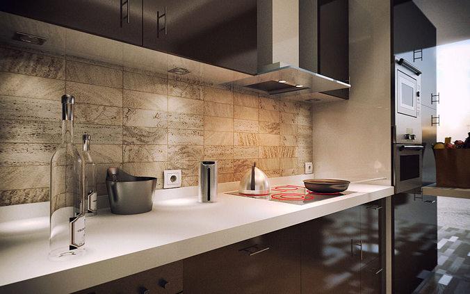 Kitchen 3D Model 3D Model Modern Kitchen  Cgtrader
