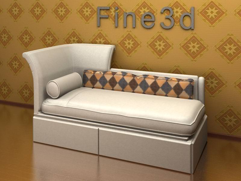 Chaise lounge 09 087 3d model max obj 3ds for Asian chaise lounge