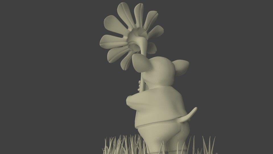 mouse giving a flower 3d cgtrader