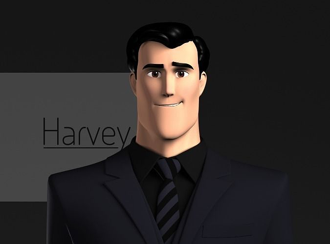 harvey stylized male character 3d model obj fbx ma mb mtl 1