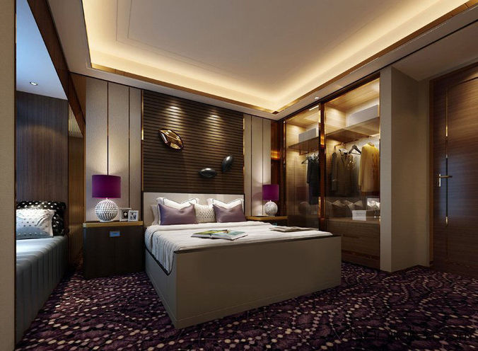 Realistic hotel room design 014 3d cgtrader for Bedroom designs 3d model