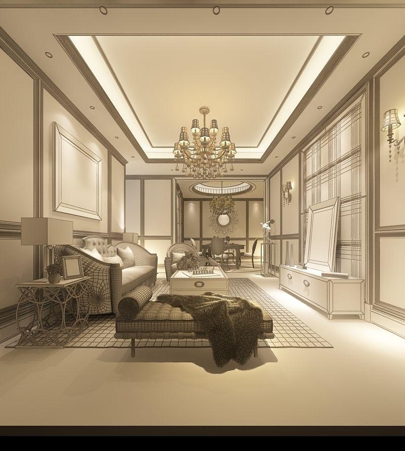 Realistic living room design 006 free 3d model max for Realistic living room ideas