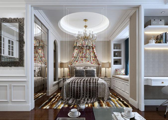 realistic bedroom design 020 3d model max