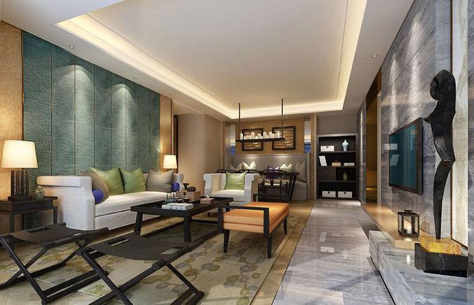 Room realistic living room design 3d model cgtrader for Realistic living room ideas