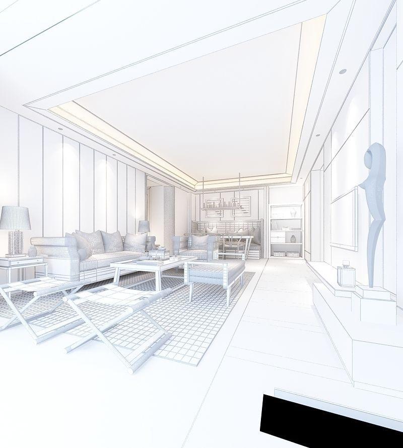 Realistic Living Room Design 030 3d Model Dwg