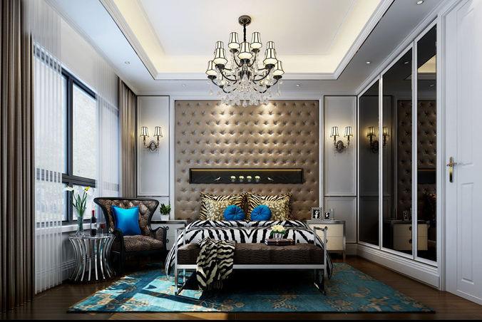 realistic bedroom design 007 3d model max