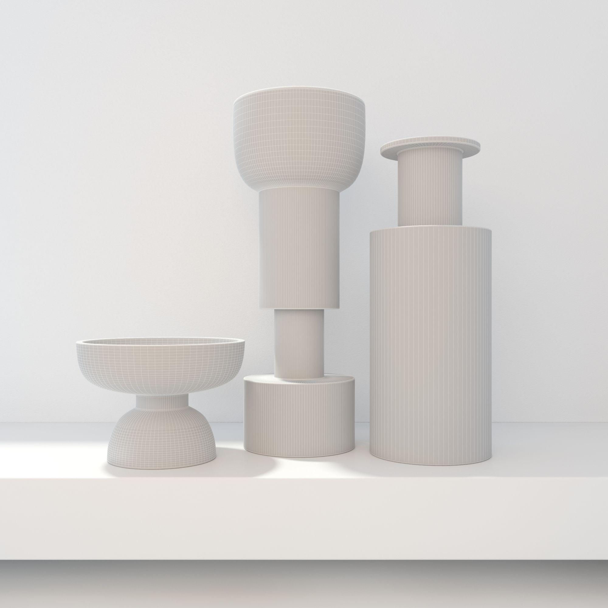 bitossi modern vases black and white decor d model max obj fbx mtl -  bitossi modern vases black and white decor d model max obj fbx mtl