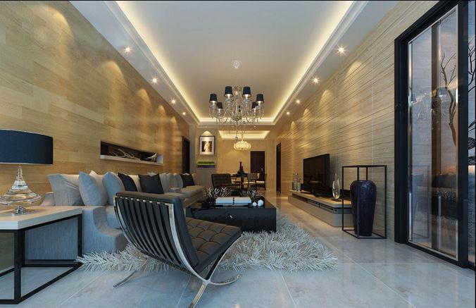 3d model realistic living room design king cgtrader for Realistic living room ideas