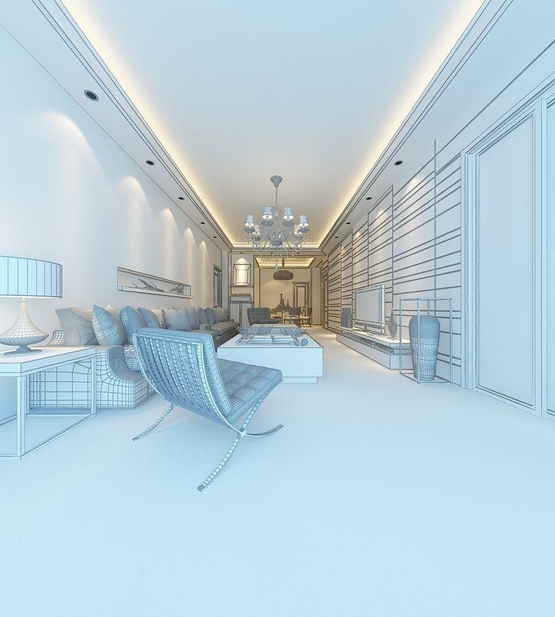 Realistic living room design 055 3d model max for Realistic living room ideas