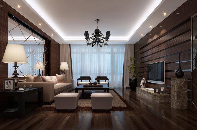 Realistic living room design 049 3d model max for Living room designs 3d model